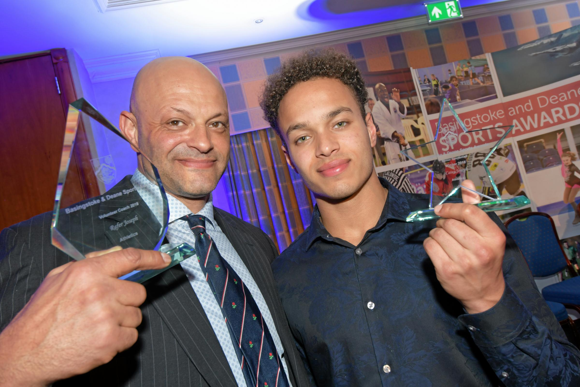 Basingstoke & Deane Sports Awards 2019 at the Apollo Hotel, Basingstoke..(L-R): Rafer Joseph and Caius Joseph celebrate their awards....Photograph By: Sean Dillow..www.TheBigCheesePhotography.co.uk.
