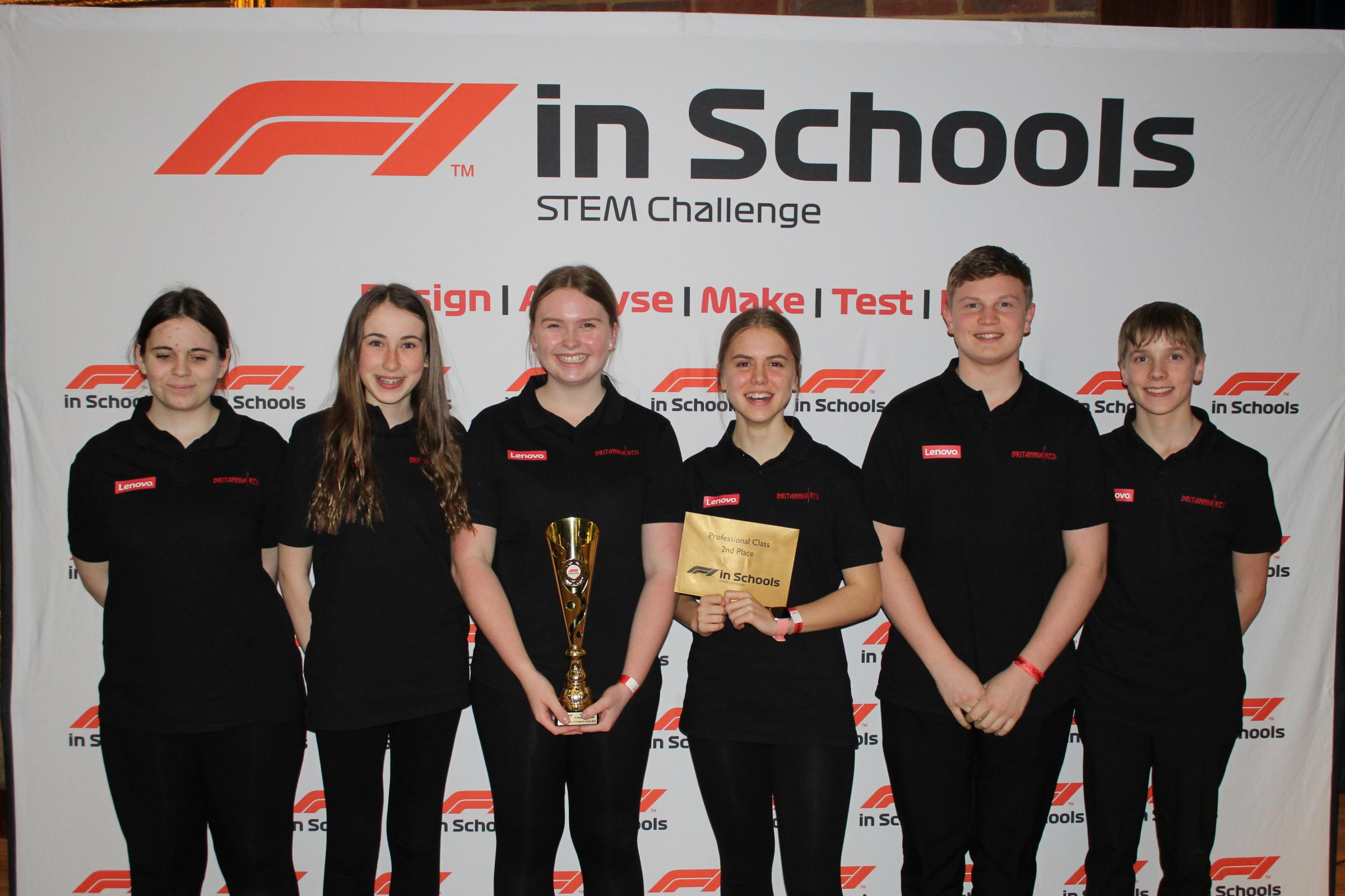 The Britannia Red team from Robert May's School. Amelia Dorward, Tilly Wake, Zach Taylor, Abi Bessant, Ted Hodgson and Harriet Ingleton