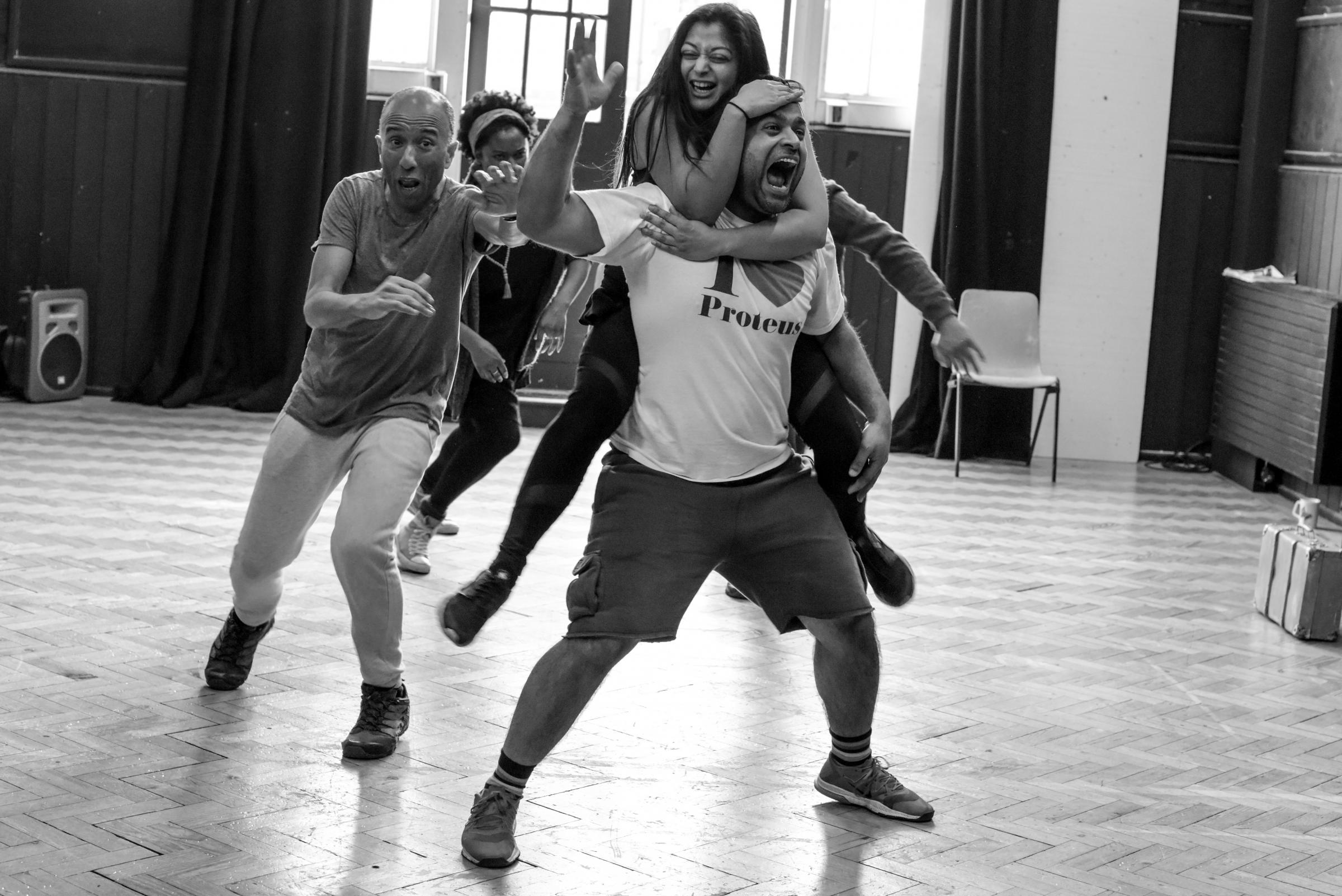 The cast in rehearsals