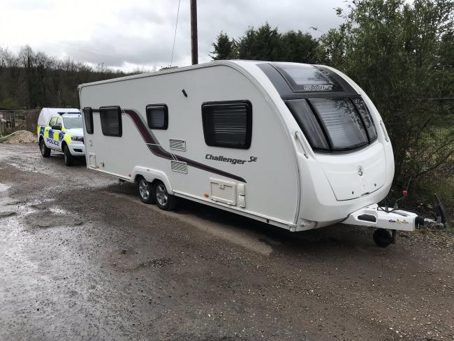The found caravan. Image: @HantsPolRural on Twitter