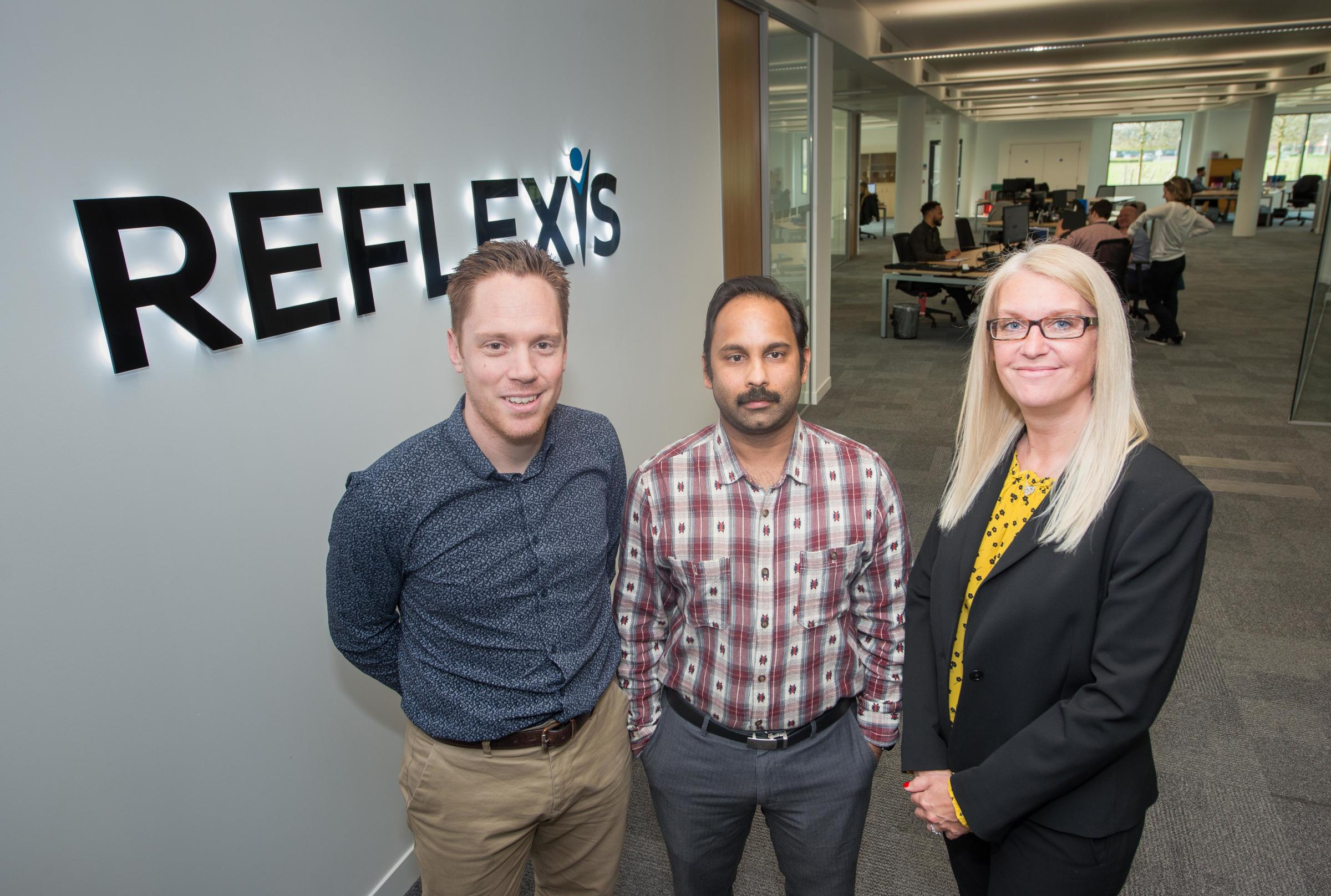 Paul Strudley, finance director, EMEA; Jagadesh Thondapu, director of technology, both from Reflexis, and Wendy Scott, customer manager, at Chineham Park.