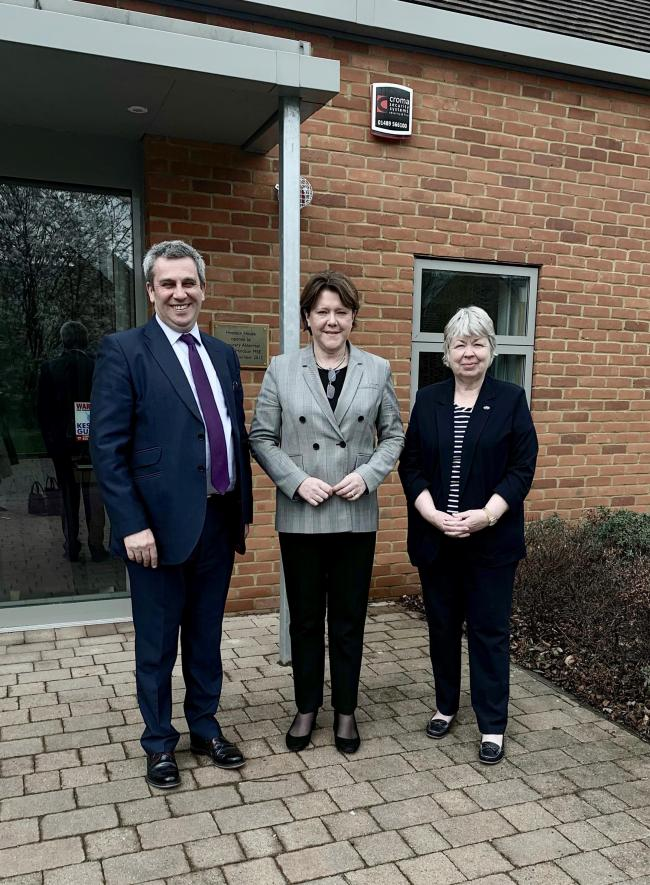 Maria Miller MP, centre, woth Graham Allen and Cllr Liz Fairhurst