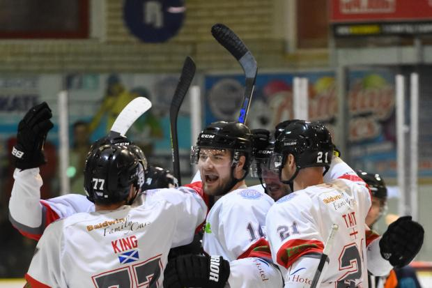 Bison celebrate a goal Image:Tommy Boxall